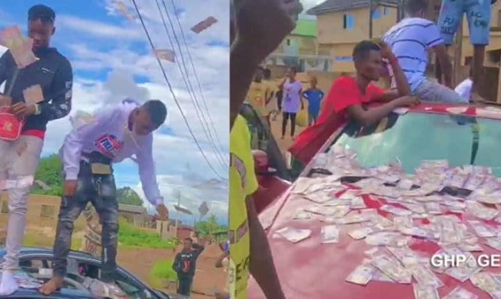Watch Video: Sakawa boys spray bundles of cash on the streets