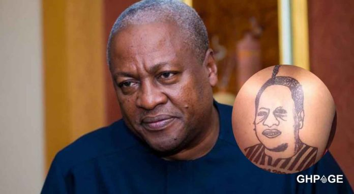 Ghanaian lady with a tattoo of Mahama at her back causes confusion on social media